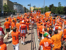 Supporters of the Dutch National Football Team. Stuttgart, Germany - June 16, 2006 Supporters of the National Soccer Team of the Netherlands, dressed in orange Royalty Free Stock Photography