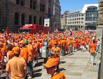 Supporters of the Dutch National Football Team. Leipzig, Germany - June 11, 2006 Supporters of the National Soccer Team of the Netherlands, dressed in orange Stock Images