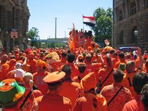 Supporters of the Dutch National Football Team. Leipzig, Germany - June 11, 2006 Supporters of the National Soccer Team of the Netherlands, dressed in orange Royalty Free Stock Photography