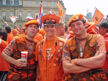 Supporters of the Dutch National Football Team Royalty Free Stock Image