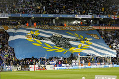 Supporters of Espanyol. Before a Spanish League match against Athletic Bilbao at the Estadi Cornella on March 4, 2015 in Barcelona, Spain Stock Photography