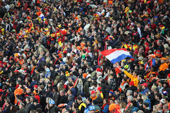 Supporters and fans. JOHANNESBURG - JULY 11 : Final at Soccer City Stadium: Spain vs. Netherlands on July 11, 2010 in Johannesburg. Supporters and fans Stock Photo