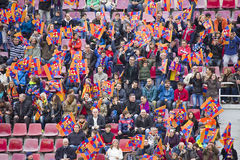 Supporters at FC Barcelona training session. FC Barcelona team in open doors training session at Miniestadi stadium, where 13,200 spectators came to enjoy for Royalty Free Stock Photo