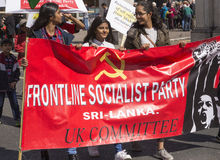 Supporters of the Frontline Socialist Party of Sri Lanka at May Day Rally Royalty Free Stock Photos