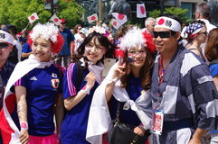 Supporters of Japan's soccer team Stock Photography