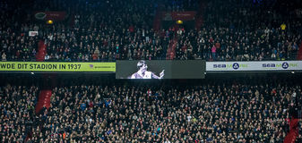 Supporters pay tribute tot deceased Johan Cruijff. NETHERLANDS, ROTTERDAM - March 24th 2016: at the De Kuip during Feyenoord - Sparta , Feyenoord supporters pay Stock Images