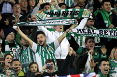 Supporters of of Real Betis. During a Spanish League match against RCD Espanyol at the Power8 stadium on March 3, 2016 in Barcelona, Spain stock photos