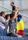 Supporters Of Romania / Glory. Romanian supporters celebrating a victory  of their team over Turkey at European Water Polo Championships, Zagreb, Croatia, August Royalty Free Stock Image
