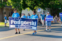 Supporters of State Senate Candidate March Stock Photo
