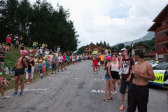 Supporters at a tdf mountain stage Royalty Free Stock Images