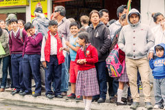 Supporters Waiting For The President Of Ecuador Royalty Free Stock Images