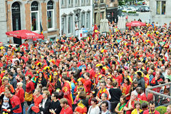 Supporters watch football match on big screen on central square Grote Markt Royalty Free Stock Image
