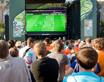 Supporters watching match Poland - Greece Stock Image