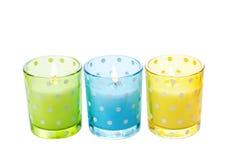 Supporti di candela di vetro colorati, isolati Fotografia Stock Libera da Diritti