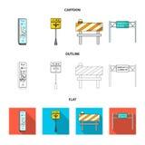 Supporti e segni e l'altra icona di web nel fumetto, profilo, stile piano Limitatori delle icone di traffico nella raccolta dell' Immagine Stock Libera da Diritti