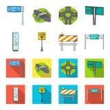 Supporti e segni e l'altra icona di web nel fumetto, stile piano Limitatori delle icone di traffico nella raccolta dell'insieme Fotografie Stock Libere da Diritti