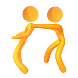 Supporting friend 3d humanoid icon Stock Images