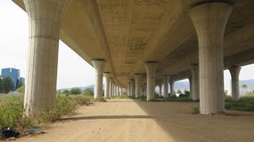 Supporting Pillars on Highway overpass Royalty Free Stock Image