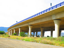 Supporting Pillars on Highway overpass Stock Images