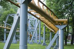 The supporting structure of the roller coaster. stock image