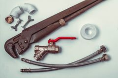 Tools for repair of plumbing stock image