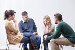 Supporting worried friend Stock Photography