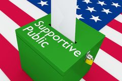 Supportive Public concept. 3D illustration of Supportive Public script on a ballot box, with US flag as a background royalty free illustration