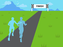 Supportive Runner Cheering Sports Background Illustration. A runner giving support to a fellow participant in a marathon race event royalty free illustration