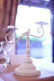 Supporto bianco della candela Fotografia Stock Libera da Diritti