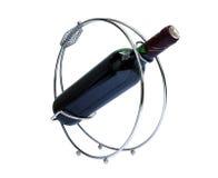 Supporto con la bottiglia di vino Fotografia Stock