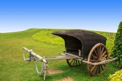 Supporto d'annata di legno del carretto sul campo di erba con spazio blu fotografia stock libera da diritti