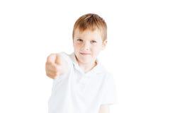 Supporto del ragazzino su fondo bianco Fotografie Stock