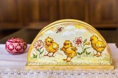 Supporto del tovagliolo di Decoupage, decorazione di Pasqua, decorazione della molla Fotografia Stock