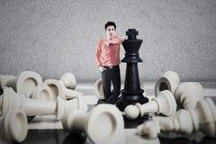 Concetto di affari del vincitore di scacchi Immagine Stock Libera da Diritti