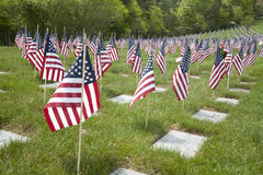 Supporto delle bandiere di Memorial Day nel ricordo Immagine Stock Libera da Diritti