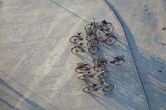 Supporto delle biciclette su una via Fotografie Stock Libere da Diritti