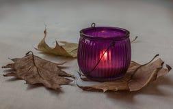 Supporto di candela di vetro con la candela bruciante Fotografia Stock Libera da Diritti