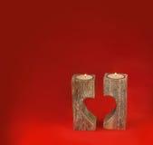 Supporto di candela romantico sotto forma di cuore per il giorno del ` s del biglietto di S. Valentino Fotografie Stock Libere da Diritti