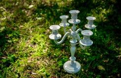 Supporto di candela scolpito bianco Immagini Stock