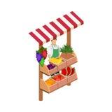 Supporto di frutta isolato 3D piano isometrico di concetto Immagine Stock