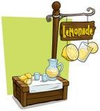 Supporto di legno del mercato della cabina del venditore della limonata del fumetto royalty illustrazione gratis