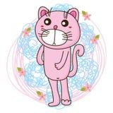 Supporto di rosa del gatto Fotografia Stock