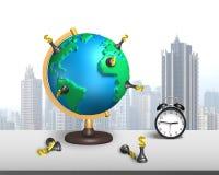 Supporto di scacchi del dollaro sul globo della mappa 3d con l'orologio Fotografia Stock Libera da Diritti