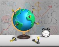 Supporto di scacchi sul globo della mappa 3d con la sveglia Immagine Stock Libera da Diritti
