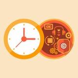 Supporto di tempo e lavoro della call center Fotografia Stock