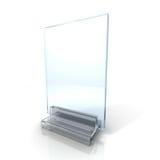 Supporto di vetro di informazioni in bianco su fondo bianco Fotografia Stock