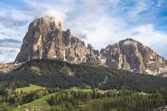 Supporto Langkofel Sassolungo nelle dolomia del Tirolo del sud,  Immagine Stock