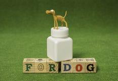 Supporto marrone del cane dell'argilla sulla bottiglia bianca della medicina Fotografia Stock Libera da Diritti