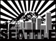 Supporto Rainier Text Black dell'orizzonte della città di Seattle e vettore bianco Illustra Immagine Stock