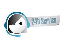 24 supports à la clientèle de service d'heure Illustration Libre de Droits